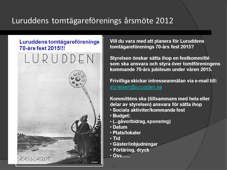 12 Luruddens tomtägareförenings årsmöte 2012 Luruddens tomtägareförenings 70-års fest 2015!!! Vill du vara med att planera för Luruddens tomtägareföre