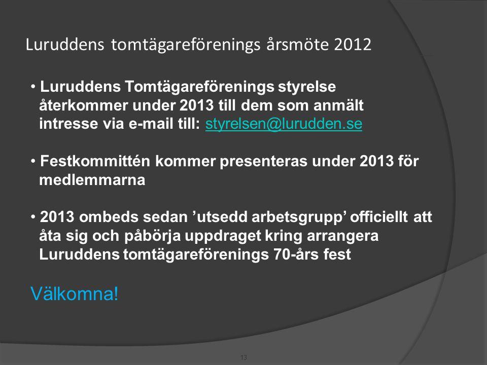 13 Luruddens tomtägareförenings årsmöte 2012 • Luruddens Tomtägareförenings styrelse återkommer under 2013 till dem som anmält intresse via e-mail til
