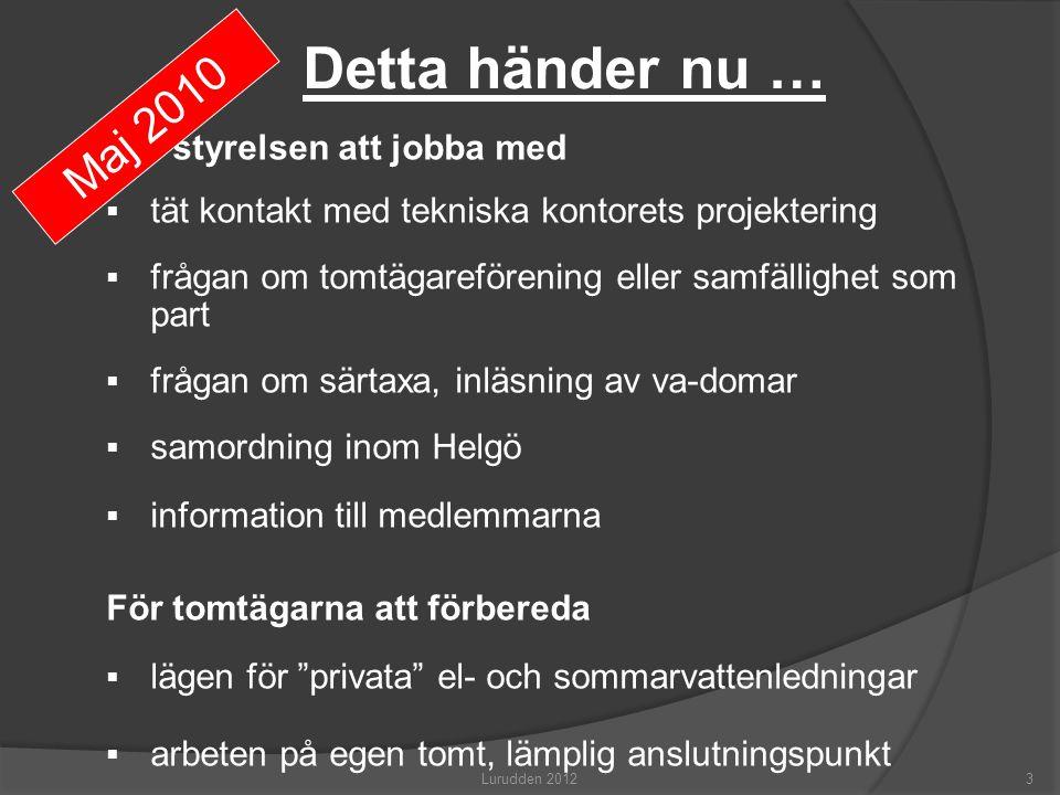 VA på Helgö, läget maj 2011  Inga anbud kommit in för markarbetena  JP begär avsked…  Anbudsförfarandet börjar om nu.