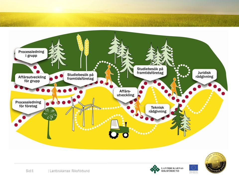 | Lantbrukarnas Riksförbund Sid 7 Exempel: 5 personer vill ha hjälp med en affärsplan runt en biogasanläggning, de ansöker om att få det som ett erbjudande i Goda affärer på förnybar energi och det är deras första nyttjande av erbjudandet.