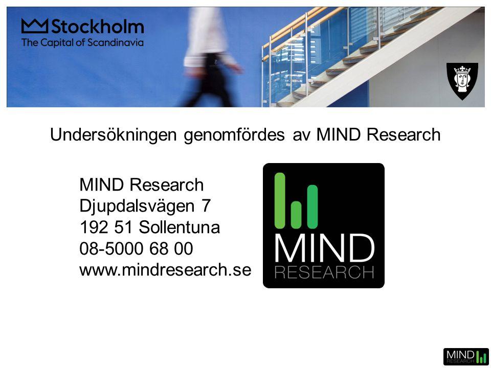 Undersökningen genomfördes av MIND Research MIND Research Djupdalsvägen 7 192 51 Sollentuna 08-5000 68 00 www.mindresearch.se