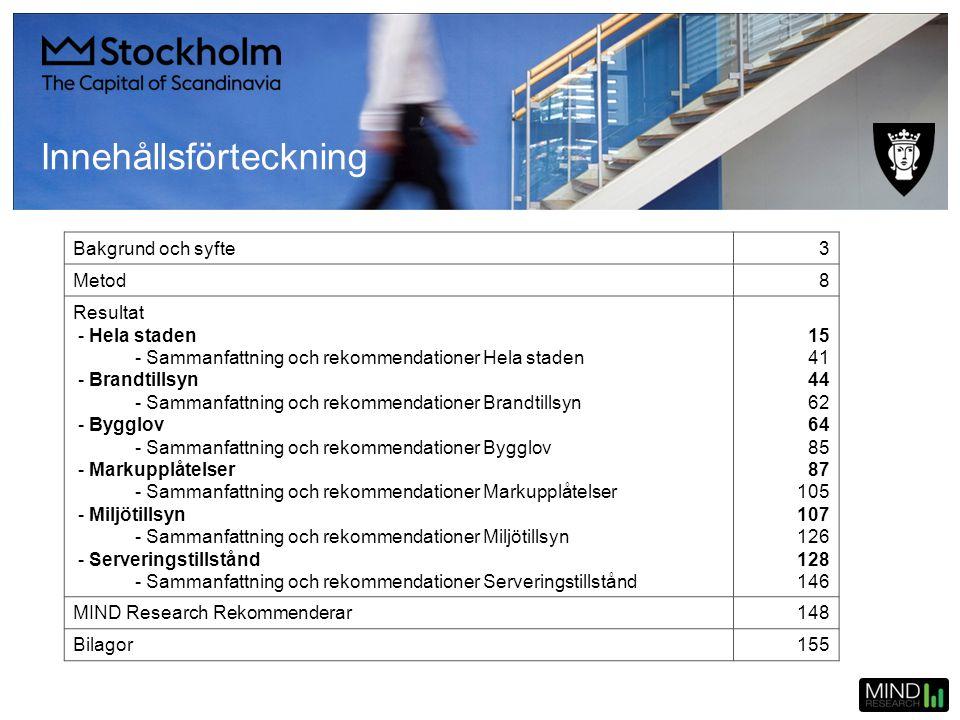 Innehållsförteckning Bakgrund och syfte3 Metod8 Resultat - Hela staden - Sammanfattning och rekommendationer Hela staden - Brandtillsyn - Sammanfattni
