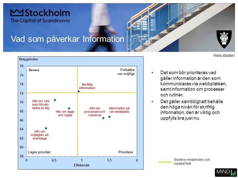 Vad som påverkar Information •Det som bör prioriteras vad gäller information är den som kommuniceras via webbplatsen, samt information om processer oc