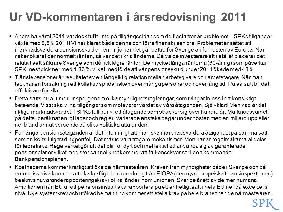 Ur VD-kommentaren i årsredovisning 2011  Andra halvåret 2011 var dock tufft. Inte på tillgångssidan som de flesta tror är problemet – SPKs tillgångar