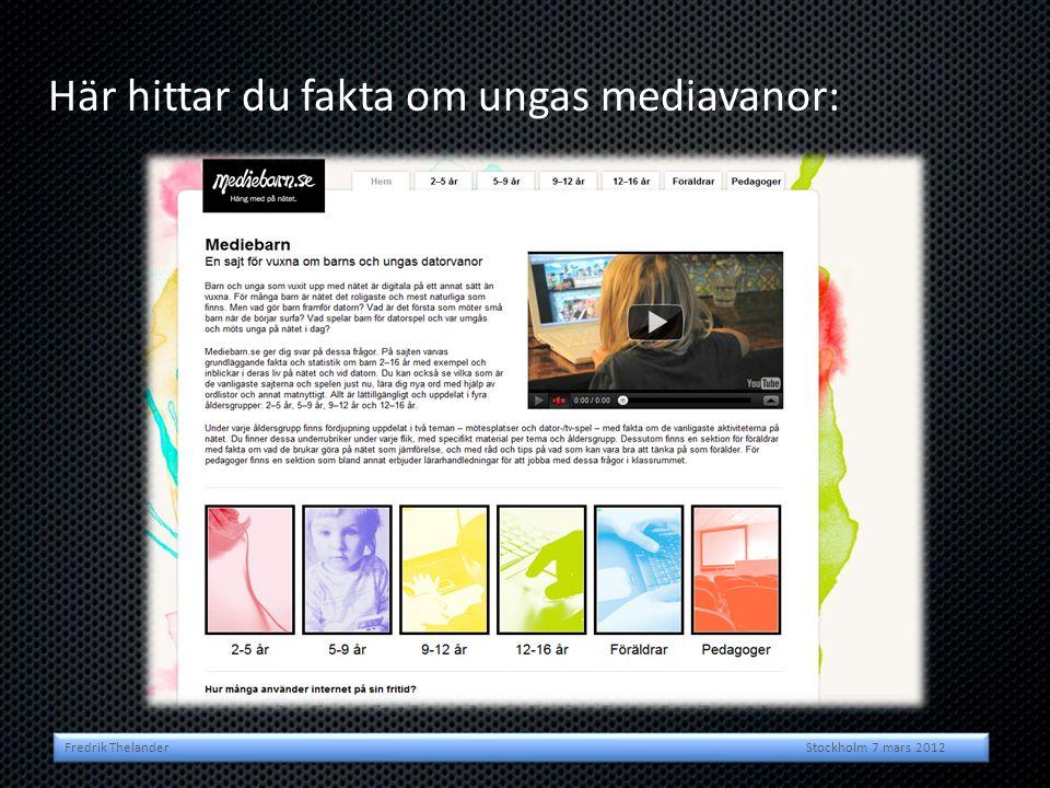 Här hittar du fakta om ungas mediavanor: Fredrik Thelander Stockholm 7 mars 2012