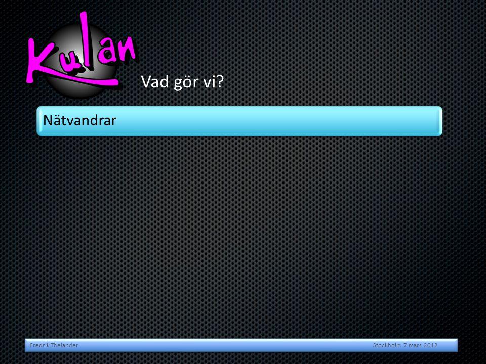 Vad gör vi? Fredrik Thelander Stockholm 7 mars 2012 Nätvandrar