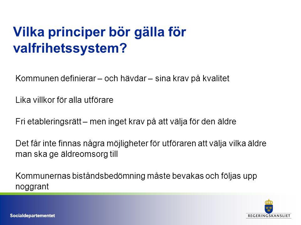 Socialdepartementet Vilka principer bör gälla för valfrihetssystem? Kommunen definierar – och hävdar – sina krav på kvalitet Lika villkor för alla utf