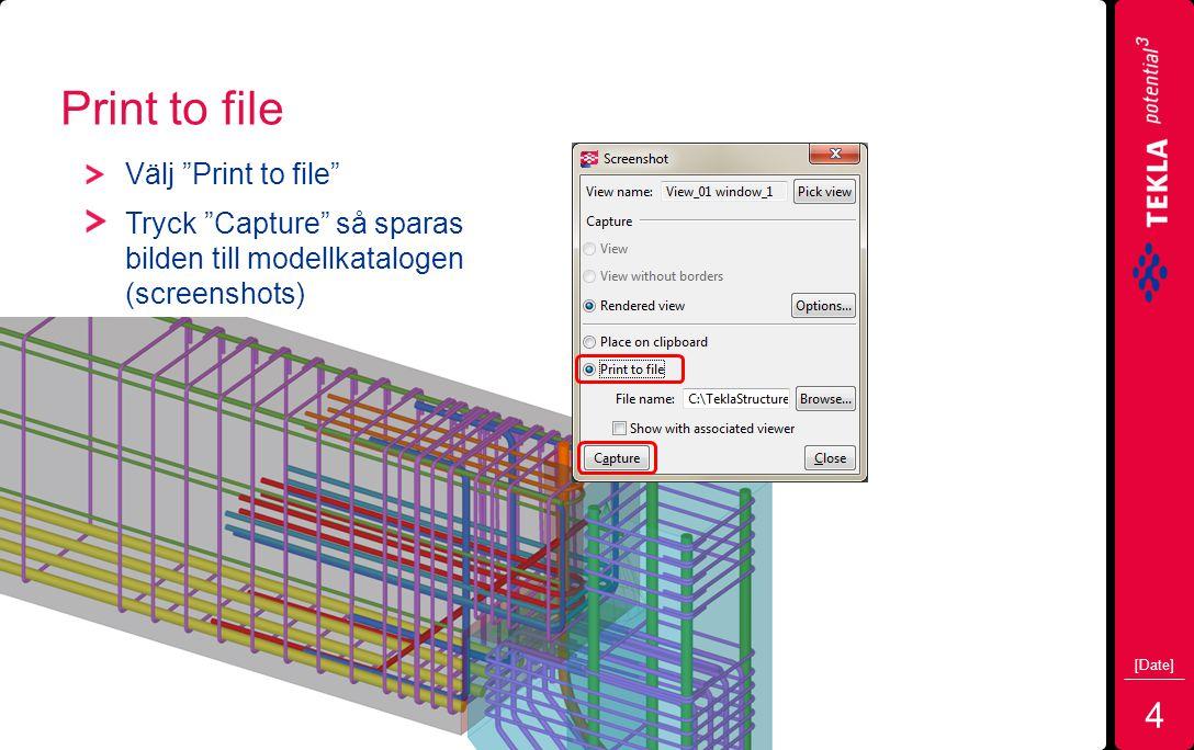 Print to file Välj Print to file Tryck Capture så sparas bilden till modellkatalogen (screenshots) [Date] 4
