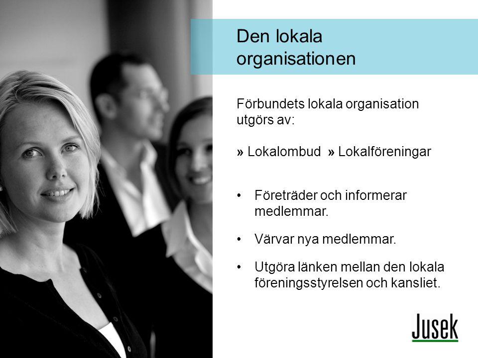 Förbundets lokala organisation utgörs av: » Lokalombud » Lokalföreningar •Företräder och informerar medlemmar. •Värvar nya medlemmar. •Utgöra länken m