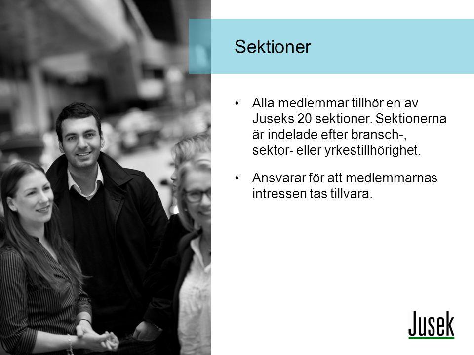 •Alla medlemmar tillhör en av Juseks 20 sektioner. Sektionerna är indelade efter bransch-, sektor- eller yrkestillhörighet. •Ansvarar för att medlemma