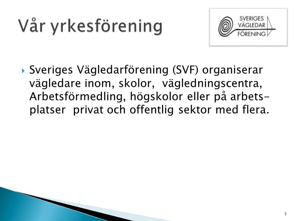  Sveriges Vägledarförening (SVF) organiserar vägledare inom, skolor, vägledningscentra, Arbetsförmedling, högskolor eller på arbets- platser privat o