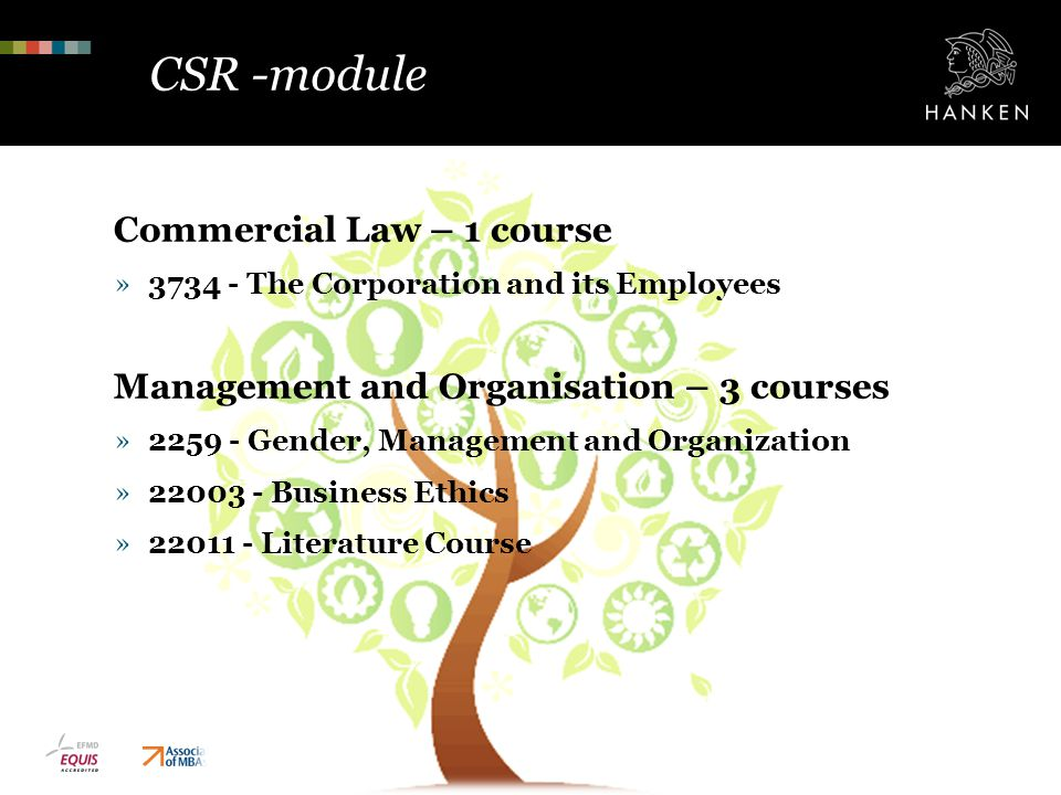 CSR -module Commercial Law – 1 course »3734 - The Corporation and its Employees Management and Organisation – 3 courses »2259 - Gender, Management and