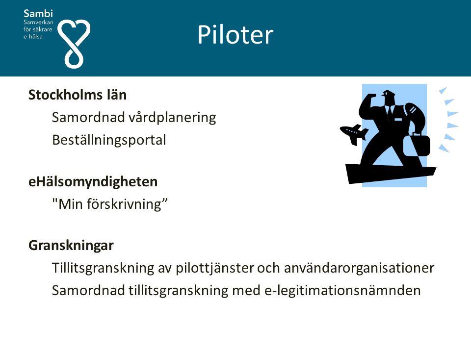 Piloter Stockholms län Samordnad vårdplanering Beställningsportal eHälsomyndigheten