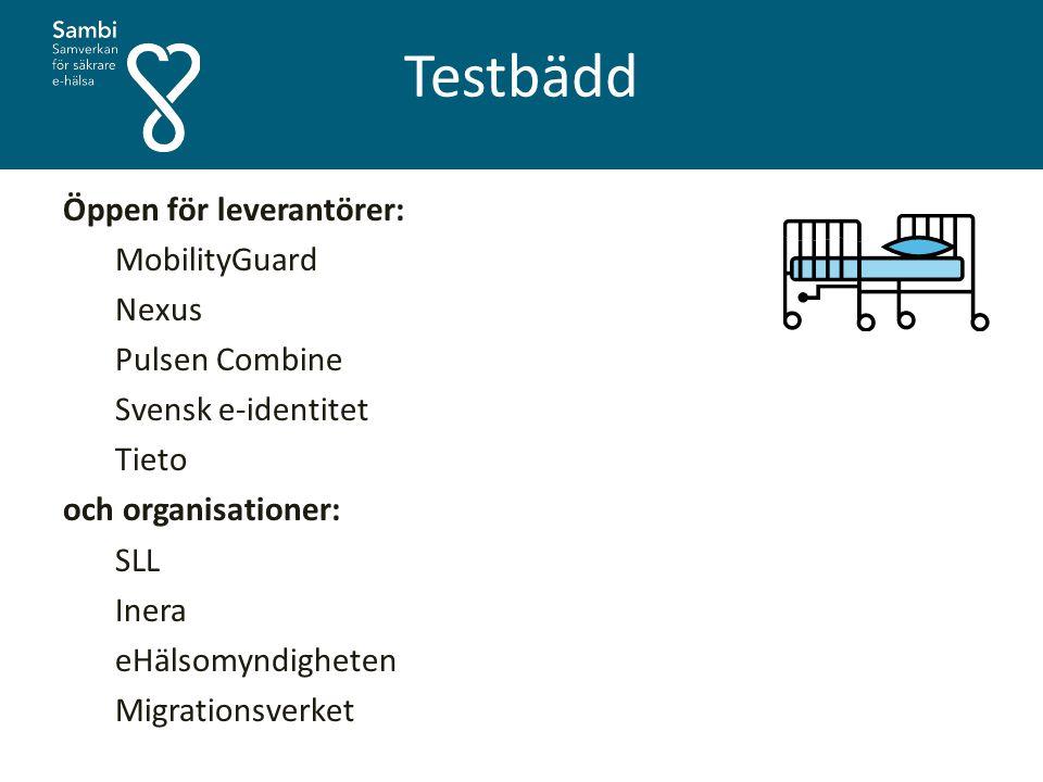 Testbädd Öppen för leverantörer: MobilityGuard Nexus Pulsen Combine Svensk e-identitet Tieto och organisationer: SLL Inera eHälsomyndigheten Migration