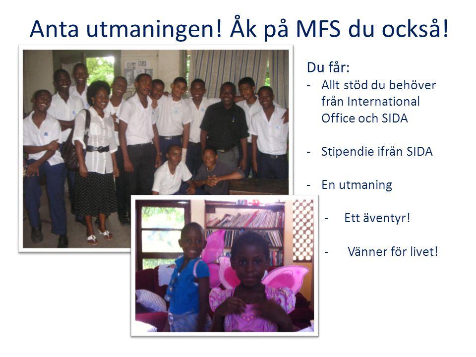 Anta utmaningen! Åk på MFS du också! Du får: -Allt stöd du behöver från International Office och SIDA -Stipendie ifrån SIDA -En utmaning - - Ett ävent