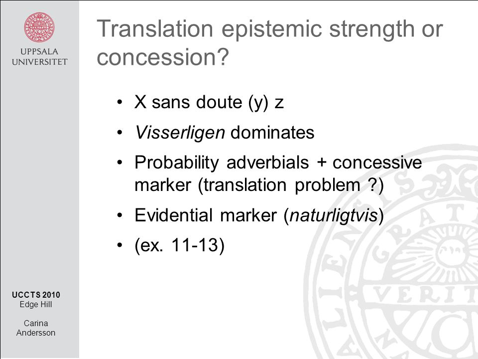 Translation epistemic strength or concession.