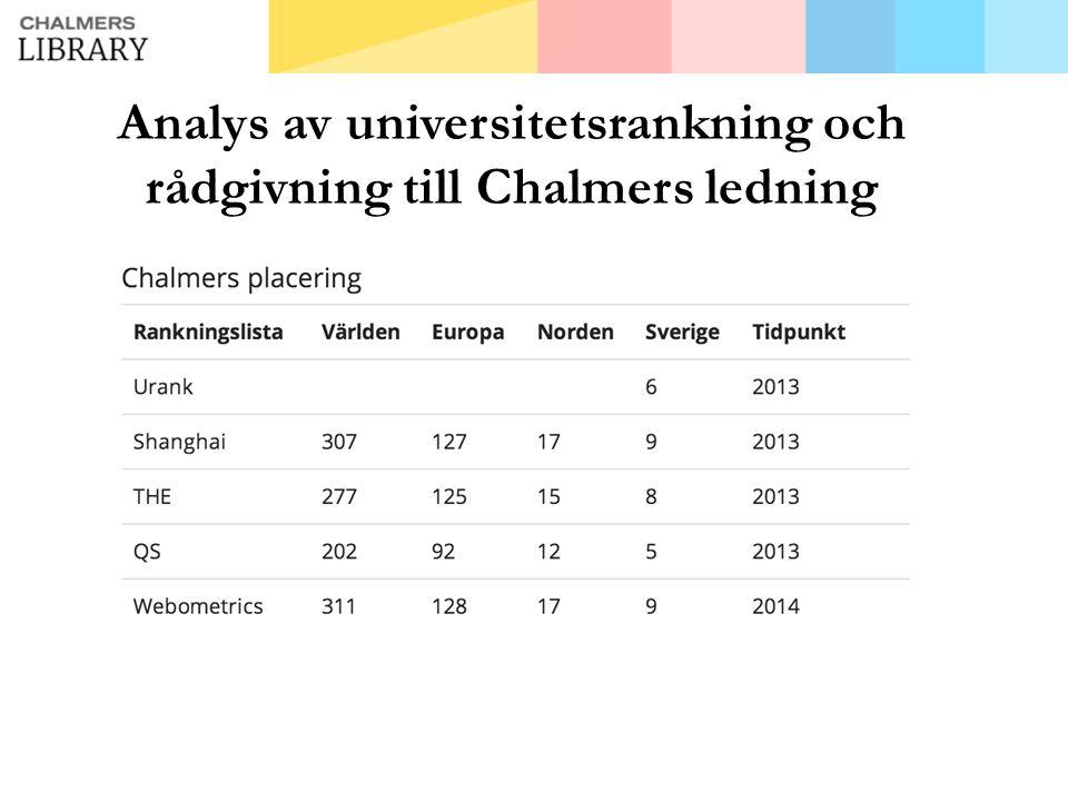 Analys av universitetsrankning och rådgivning till Chalmers ledning