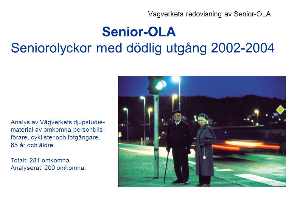 Senior-OLA Seniorolyckor med dödlig utgång 2002-2004 Analys av Vägverkets djupstudie- material av omkomna personbils- förare, cyklister och fotgängare, 65 år och äldre.