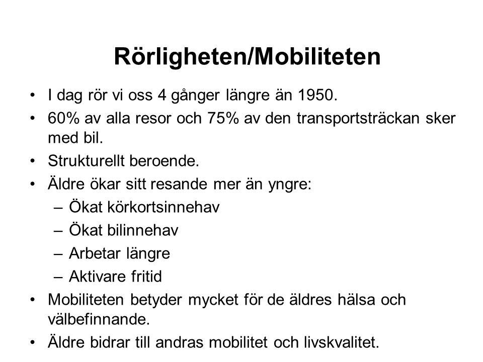 Rörligheten/Mobiliteten •I dag rör vi oss 4 gånger längre än 1950.
