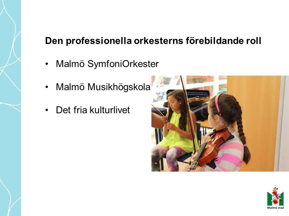 Den professionella orkesterns förebildande roll •Malmö SymfoniOrkester •Malmö Musikhögskola •Det fria kulturlivet