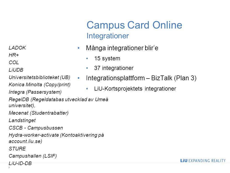 Campus Card Online Integrationer •Många integrationer blir'e •15 system •37 integrationer •Integrationsplattform – BizTalk (Plan 3) •LiU-Kortsprojekte