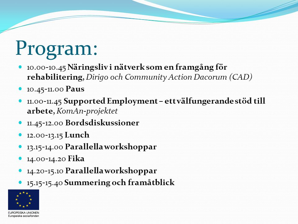 Program:  10.00-10.45 Näringsliv i nätverk som en framgång för rehabilitering, Dirigo och Community Action Dacorum (CAD)  10.45-11.00 Paus  11.00-11.45 Supported Employment – ett välfungerande stöd till arbete, KomAn-projektet  11.45-12.00 Bordsdiskussioner  12.00-13.15 Lunch  13.15-14.00 Parallella workshoppar  14.00-14.20 Fika  14.20-15.10 Parallella workshoppar  15.15-15.40 Summering och framåtblick