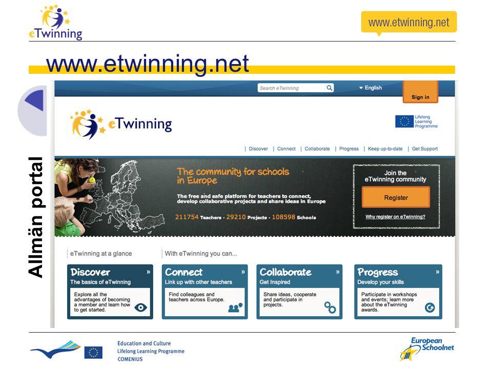 www.etwinning.net Allmän portal