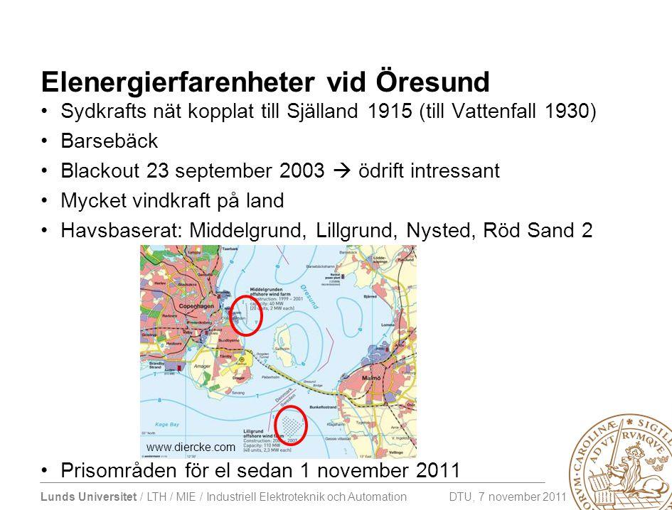 Elenergierfarenheter vid Öresund •Sydkrafts nät kopplat till Själland 1915 (till Vattenfall 1930) •Barsebäck •Blackout 23 september 2003  ödrift intr
