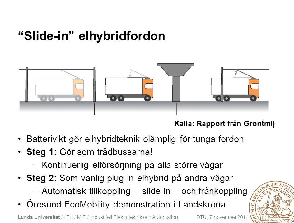 """Lunds Universitet / LTH / MIE / Industriell Elektroteknik och Automation DTU, 7 november 2011 """"Slide-in"""" elhybridfordon •Batterivikt gör elhybridtekni"""