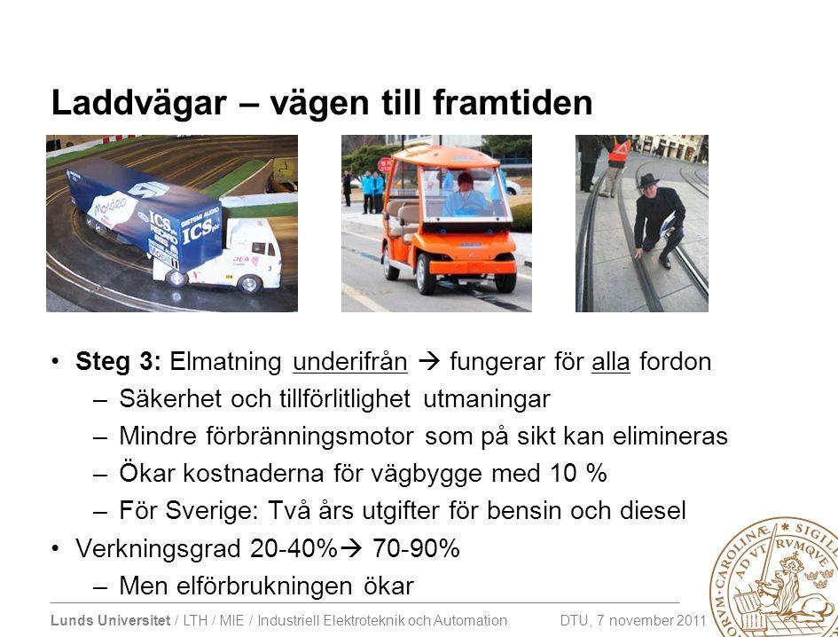 Lunds Universitet / LTH / MIE / Industriell Elektroteknik och Automation DTU, 7 november 2011 Laddvägar – vägen till framtiden •Steg 3: Elmatning unde