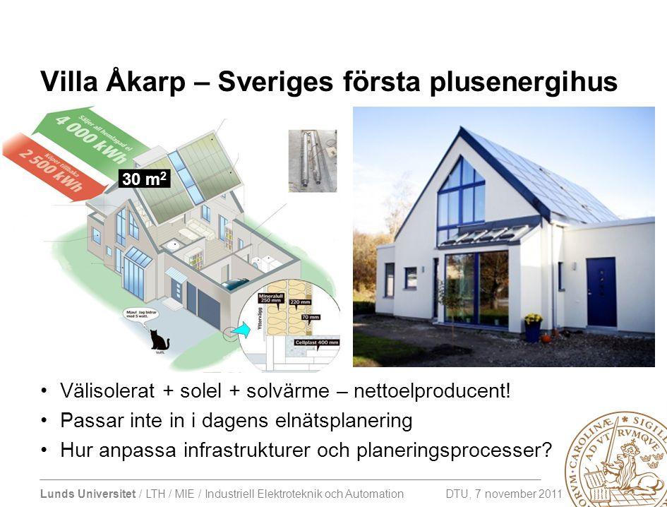 Lunds Universitet / LTH / MIE / Industriell Elektroteknik och Automation DTU, 7 november 2011 Villa Åkarp – Sveriges första plusenergihus •Välisolerat