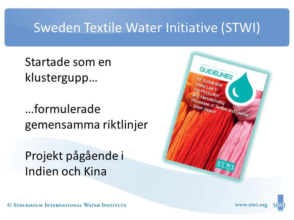 Sweden Textile Water Initiative (STWI) Startade som en klustergupp… …formulerade gemensamma riktlinjer Projekt pågående i Indien och Kina
