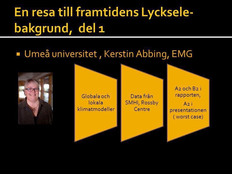  Umeå universitet, Kerstin Abbing, EMG Globala och lokala klimatmodeller Data från SMHI, Rossby Centre A2 och B2 i rapporten, A2 i presentationen ( w