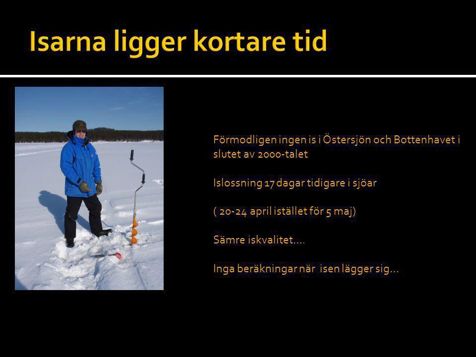 Förmodligen ingen is i Östersjön och Bottenhavet i slutet av 2000-talet Islossning 17 dagar tidigare i sjöar ( 20-24 april istället för 5 maj) Sämre i