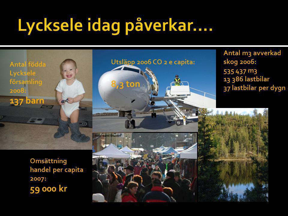 Antal födda Lycksele församling 2008: 137 barn Omsättning handel per capita 2007: 59 000 kr Utsläpp 2006 CO 2 e capita: 8,3 ton Antal m3 avverkad skog