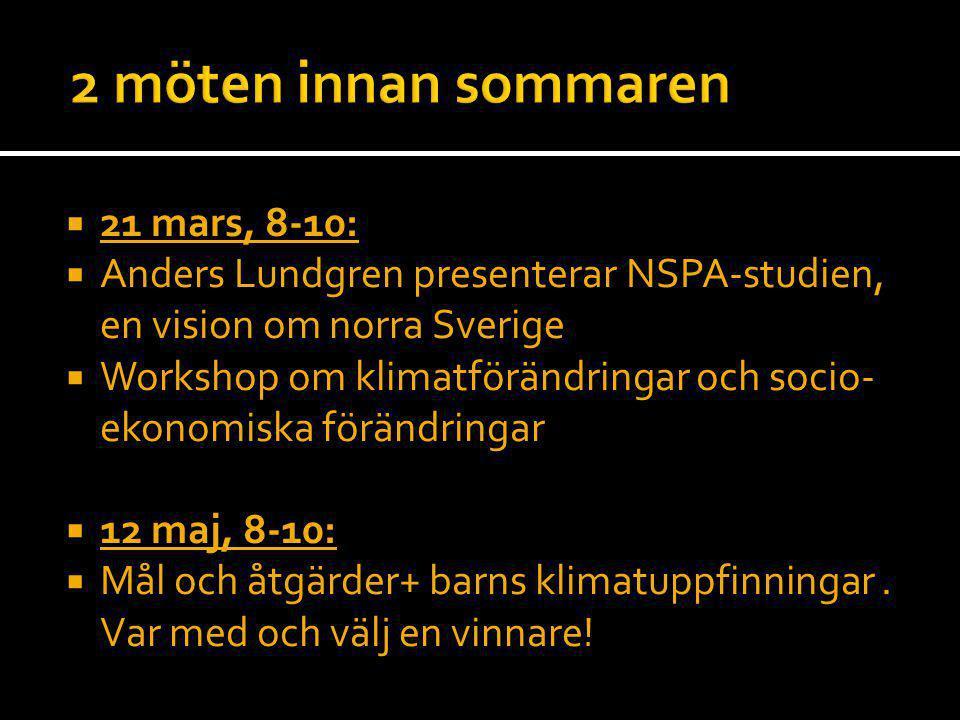  21 mars, 8-10:  Anders Lundgren presenterar NSPA-studien, en vision om norra Sverige  Workshop om klimatförändringar och socio- ekonomiska förändr