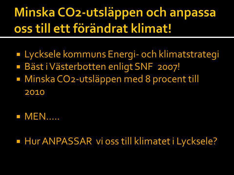  Lycksele kommuns Energi- och klimatstrategi  Bäst i Västerbotten enligt SNF 2007!  Minska CO2-utsläppen med 8 procent till 2010  MEN…..  Hur ANP