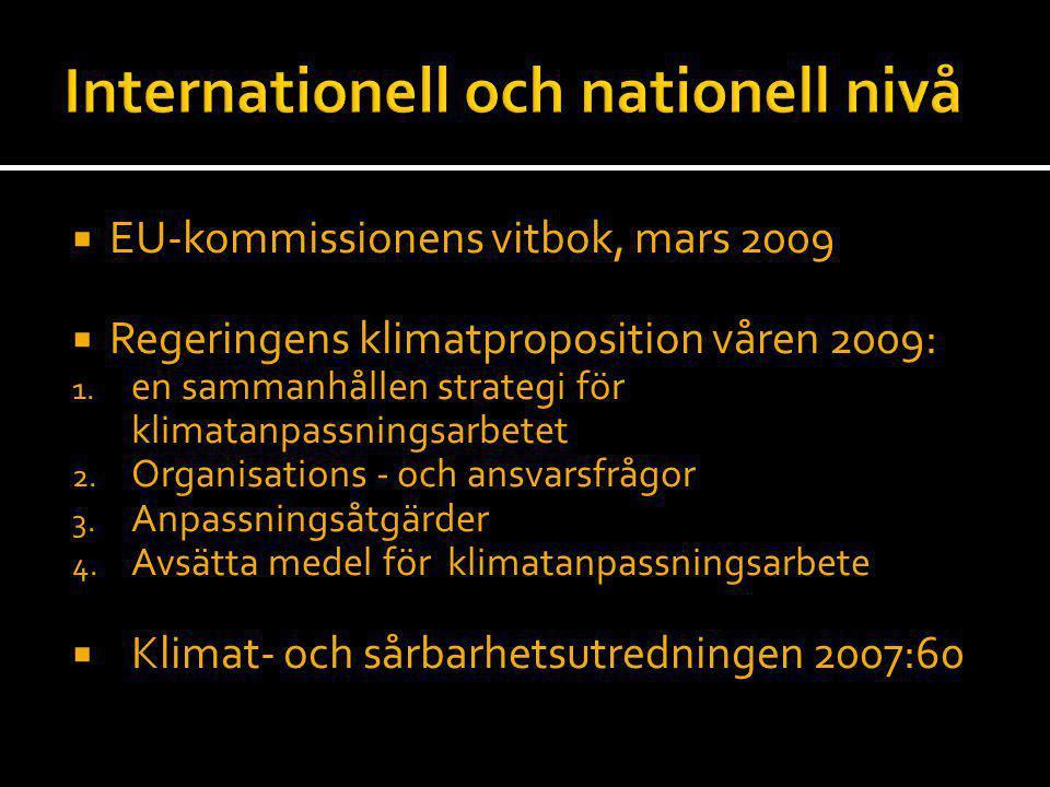  EU-kommissionens vitbok, mars 2009  Regeringens klimatproposition våren 2009: 1. en sammanhållen strategi för klimatanpassningsarbetet 2. Organisat