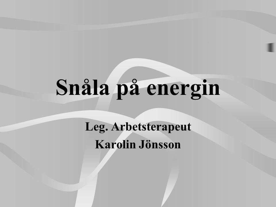 Snåla på energin Leg. Arbetsterapeut Karolin Jönsson
