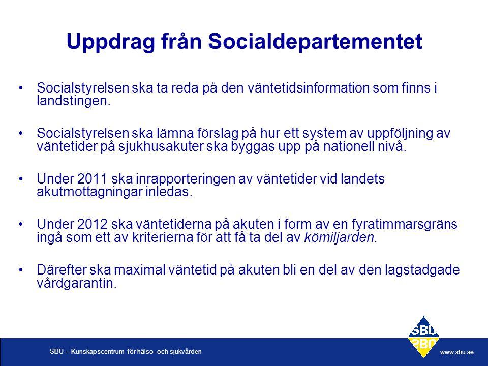 SBU – Kunskapscentrum för hälso- och sjukvården www.sbu.se Uppdrag från Socialdepartementet •Socialstyrelsen ska ta reda på den väntetidsinformation som finns i landstingen.