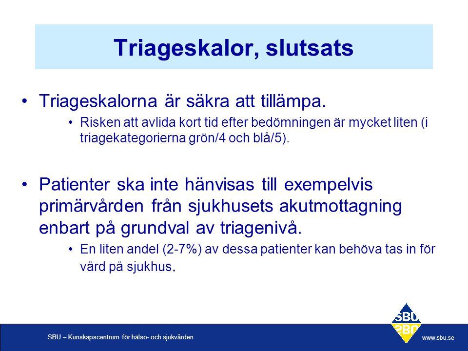 SBU – Kunskapscentrum för hälso- och sjukvården www.sbu.se Triageskalor, slutsats •Triageskalorna är säkra att tillämpa.