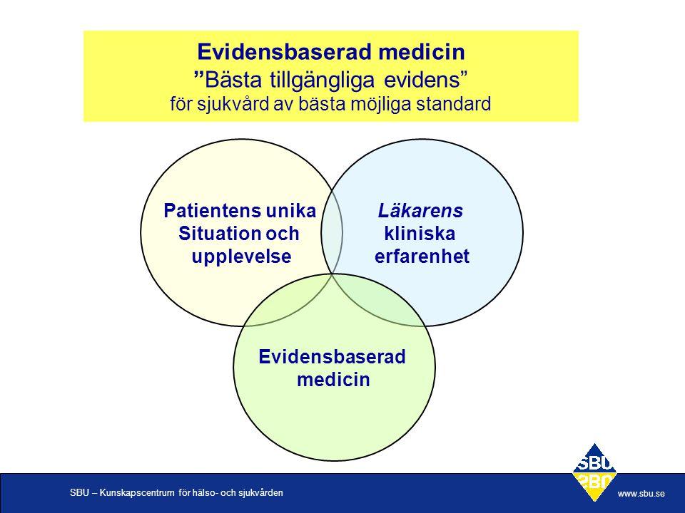 SBU – Kunskapscentrum för hälso- och sjukvården www.sbu.se Systematiska kunskapssammanställningar, behövs de.