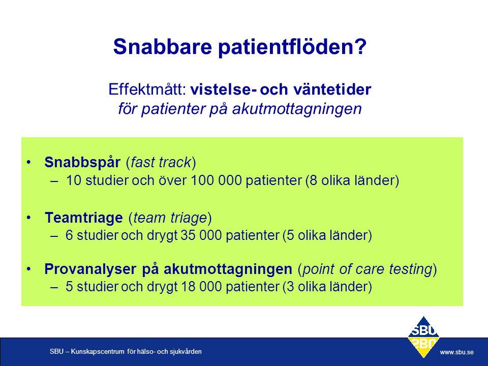 SBU – Kunskapscentrum för hälso- och sjukvården www.sbu.se Snabbare patientflöden.