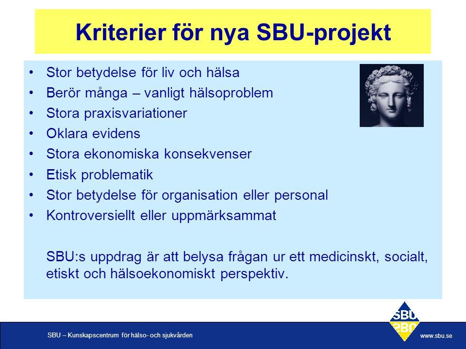 SBU – Kunskapscentrum för hälso- och sjukvården www.sbu.se Kriterier för nya SBU-projekt •Stor betydelse för liv och hälsa •Berör många – vanligt hälsoproblem •Stora praxisvariationer •Oklara evidens •Stora ekonomiska konsekvenser •Etisk problematik •Stor betydelse för organisation eller personal •Kontroversiellt eller uppmärksammat SBU:s uppdrag är att belysa frågan ur ett medicinskt, socialt, etiskt och hälsoekonomiskt perspektiv.