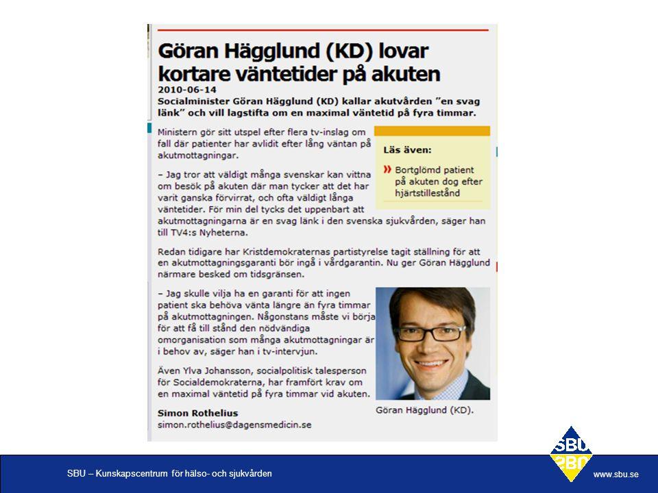 SBU – Kunskapscentrum för hälso- och sjukvården www.sbu.se Snabbspår, slutsats •Snabbspår är den flödesprocess som har bäst vetenskapligt underlag.