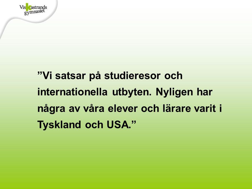 """""""Vi satsar på studieresor och internationella utbyten. Nyligen har några av våra elever och lärare varit i Tyskland och USA."""""""