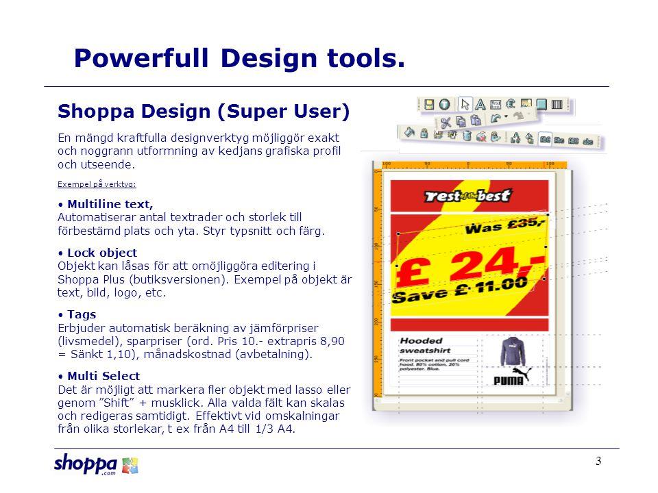 3 Shoppa Design (Super User) En mängd kraftfulla designverktyg möjliggör exakt och noggrann utformning av kedjans grafiska profil och utseende.