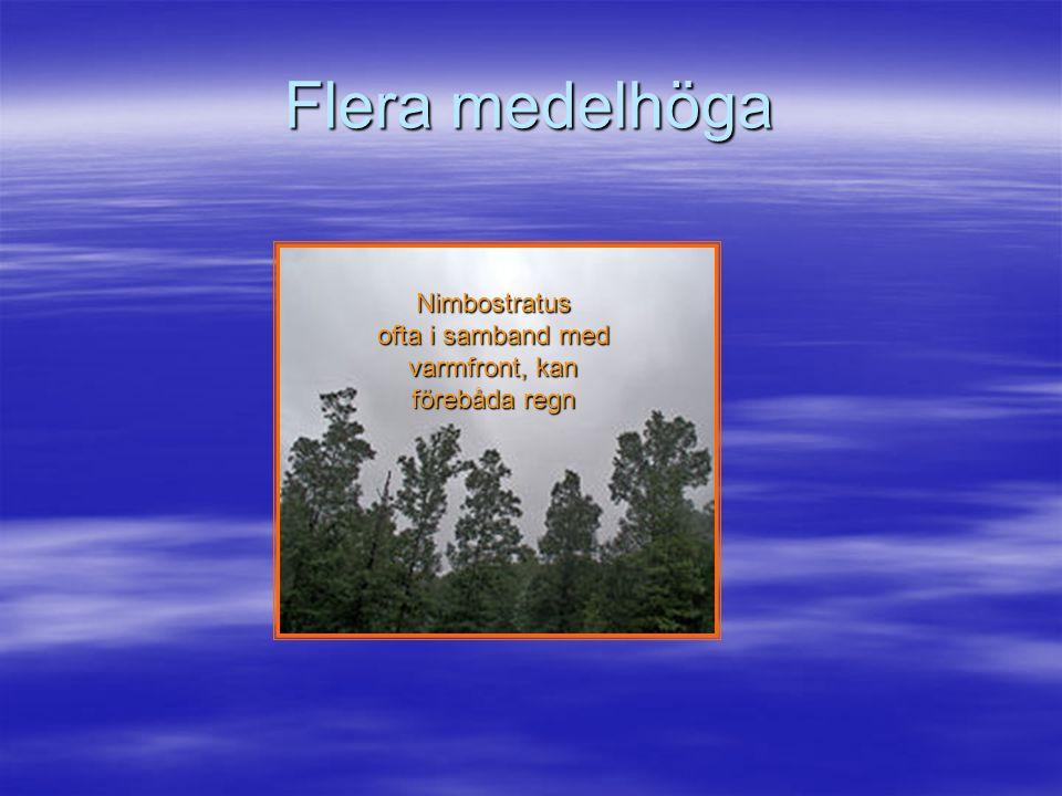 Medelhöga moln är t.ex Stratocumulus liknar Cumulus men molnbasen ligger högre Stratocumulus som tätnat till ett samman- hängande skikt