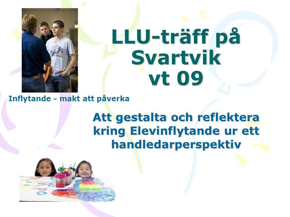 LLU-träff på Svartvik vt 09 Att gestalta och reflektera kring Elevinflytande ur ett handledarperspektiv Inflytande - makt att påverka