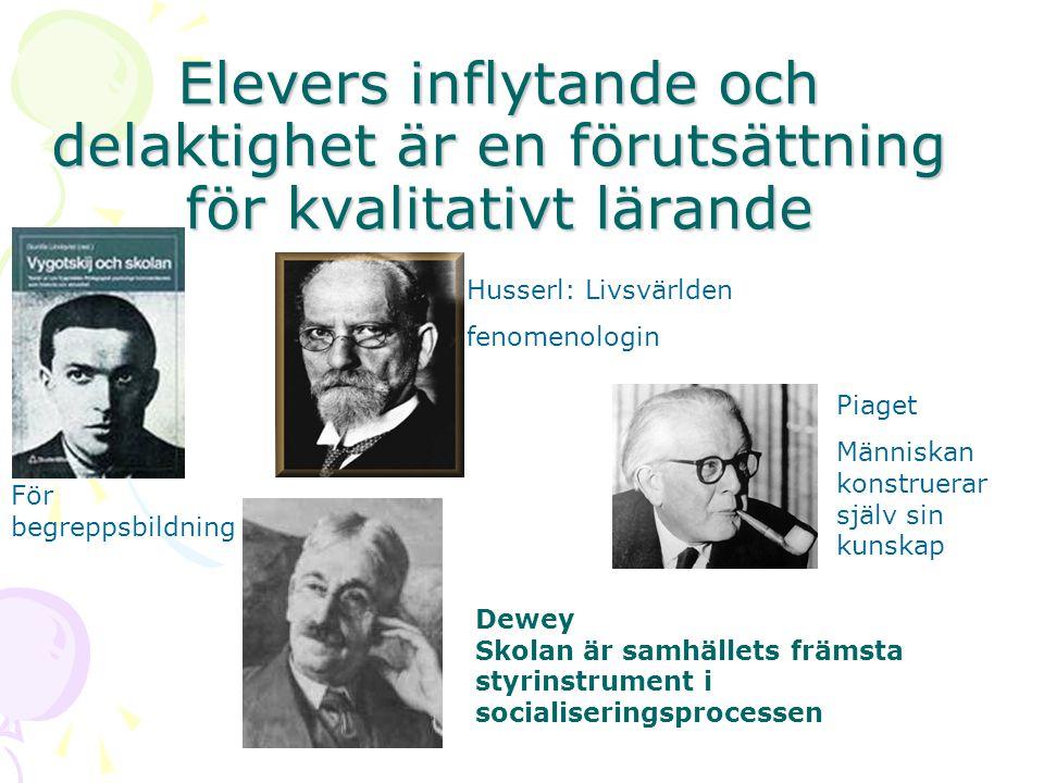 Elevers inflytande och delaktighet är en förutsättning för kvalitativt lärande Dewey Skolan är samhällets främsta styrinstrument i socialiseringsproce